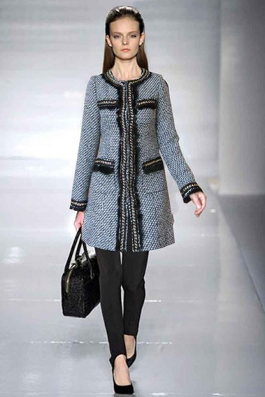 gray black chanel linen coats